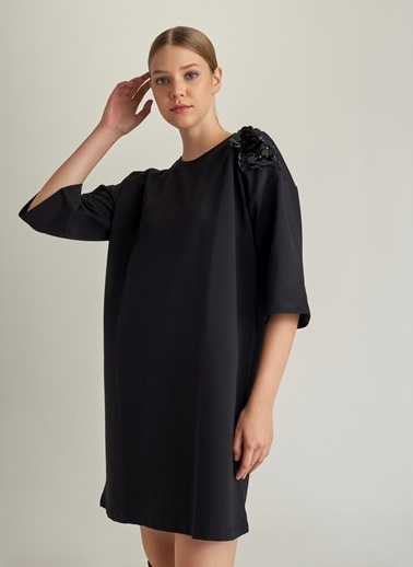 NGSTYLE Taşlı Kimono Kollu Sweat Elbise Siyah